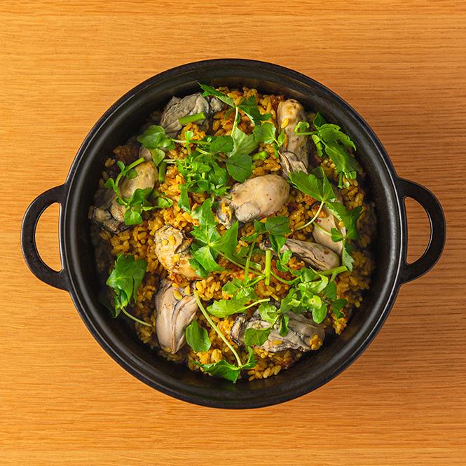 「牡蠣とクレソンのカレー炊き込みご飯」