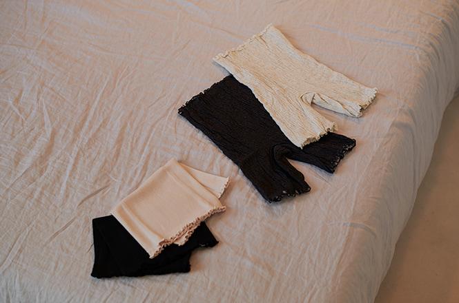 B 薄手 綿ハラマキ、N 内側絹のハラマキパンツ